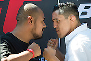 HOUSTON, TX - OCTOBER 3:  Erik Perez faces off with a fan during the UFC 192 fan village at the Toyota Center on October 3, 2015 in Houston, Texas. (Photo by Cooper Neill/Zuffa LLC/Zuffa LLC via Getty Images) *** Local Caption *** Erik Perez