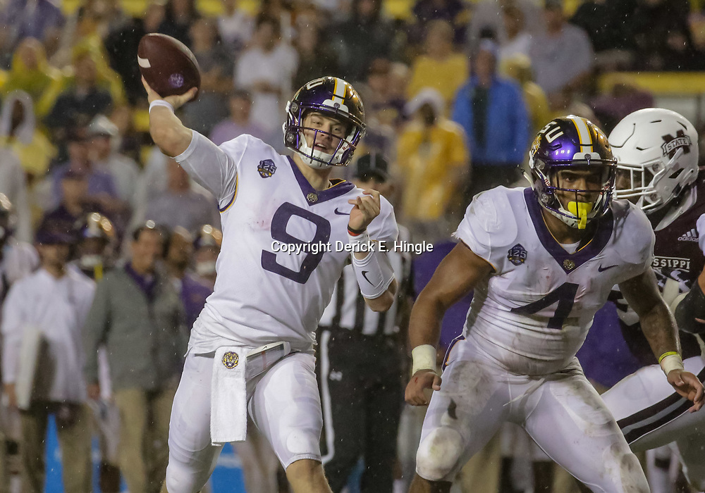 Oct 20, 2018; Baton Rouge, LA, USA; LSU Tigers quarterback Joe Burrow (9) throws against the Mississippi State Bulldogs during the second quarter at Tiger Stadium. Mandatory Credit: Derick E. Hingle-USA TODAY Sports