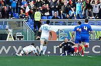 Rome, Italy -Parisse realized try during Italia vs Francia race of the championship rugby SIX NATIONS played at the Olimpico in Rome.(Credit Image: © Gilberto Carbonari/).