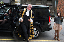 © London News Pictures. 19/05/15. London, UK. The Lord Chancellor Michael Gove arrives with his family for his swearing in ceremony as the Lord Chancellor, Royal Courts of Justice, Central London. Photo credit: Laura Lean/LNP/05/15.