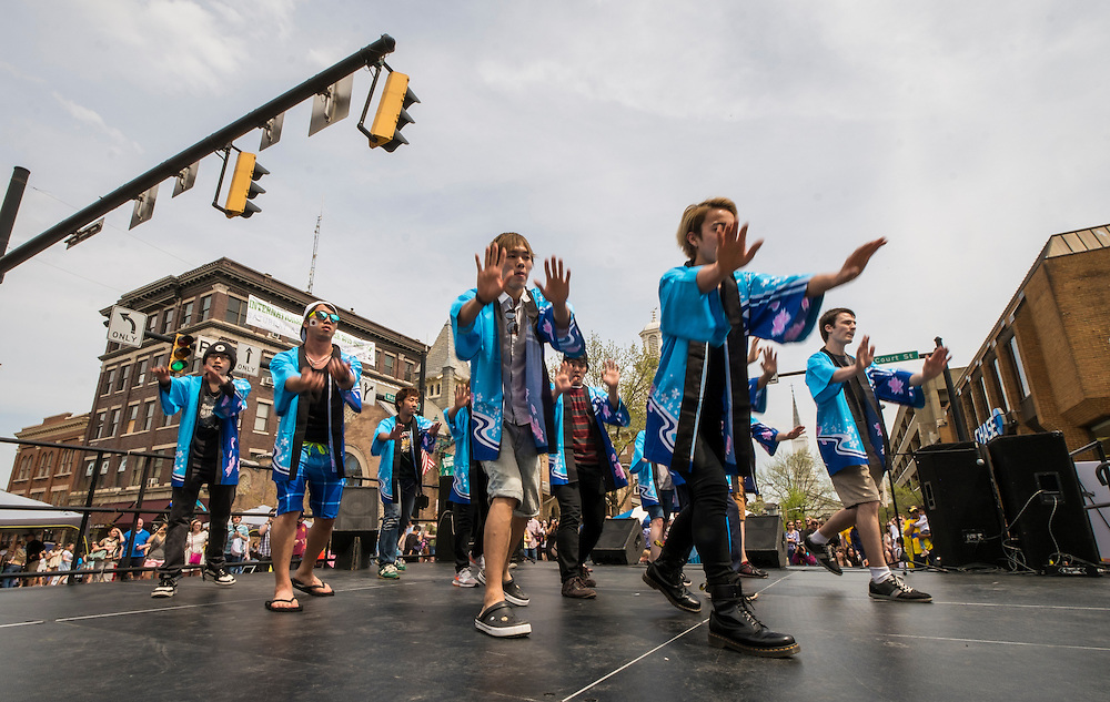Dancers perform for the crowd at the intersection of Court and Washington during the International Street Fair on Saturday, April 18, 2015.  Photo by Ohio University  /  Rob Hardin