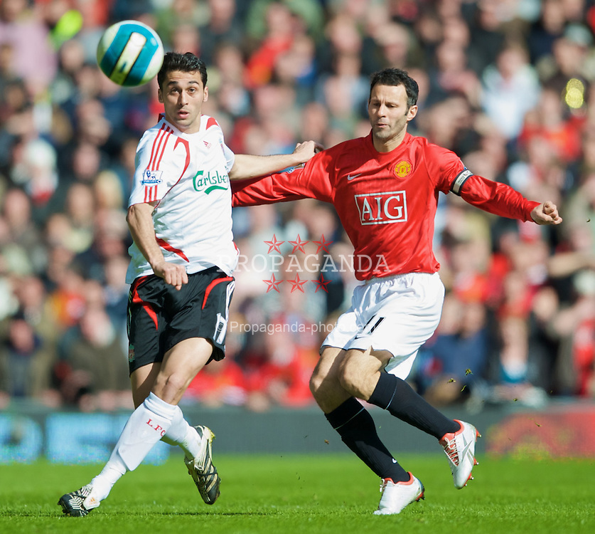 MANCHESTER, ENGLAND - Sunday, March 23, 2008: Liverpool's Alvaro Arbeloa and Manchester United's captain Ryan Giggs during the Premiership match at Old Trafford. (Photo by David Rawcliffe/Propaganda)