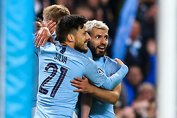 Sergio Aguero of Manchester City celebrates with teammates after scoring a goal to make it 4-2 - Mandatory by-line: Robbie Stephenson/JMP - 17/04/2019 - FOOTBALL - Etihad Stadium - Manchester, England - Manchester City v Tottenham Hotspur - UEFA Champions League Quarter Final 2nd Leg