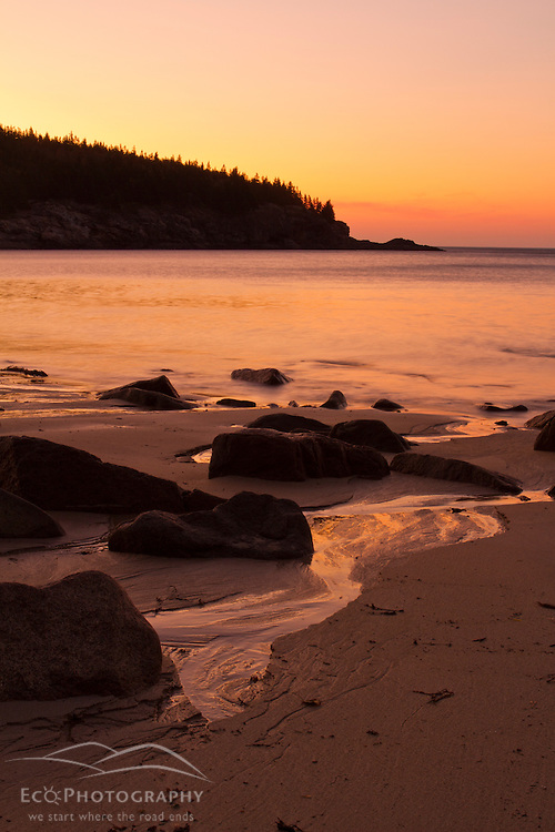 Dawn at Sand Beach in Maine's Acadia National Park.