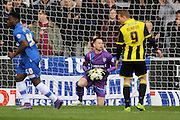 Gillingham goalkeeper Stuart Nelson saves the ball after an early attempt by Burton during the Sky Bet League 1 match between Burton Albion and Gillingham at the Pirelli Stadium, Burton upon Trent, England on 30 April 2016. Photo by Aaron  Lupton.