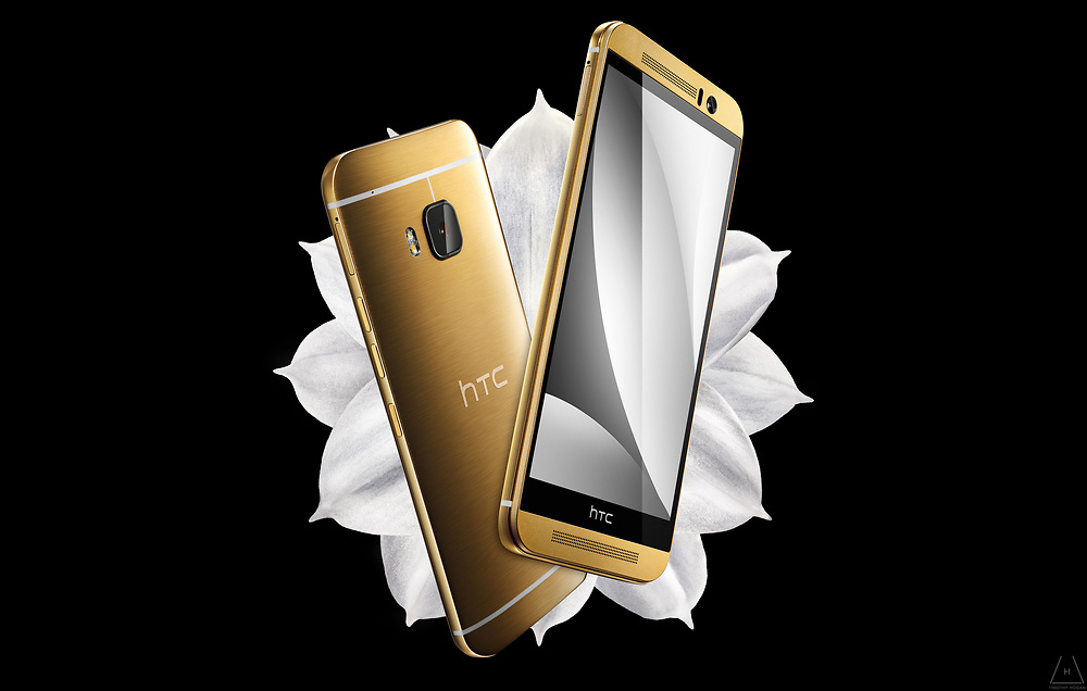 A pair of gold HTC One M9 superimposed on a Paperwhite Narcissus