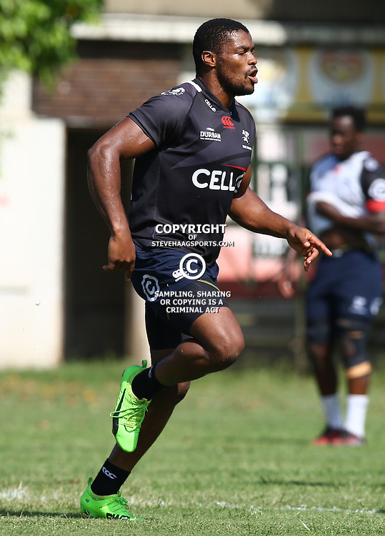 S'bura Sithole during The Cell C Sharks Pre Season training, session at Growthpoint Kings Park in Durban, South Africa. 16 February 2017(Photo by Steve Haag)<br /> <br /> images for social media must have consent from Steve Haag