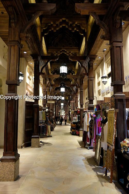 Interior of Souk Madinat reproduction souq at Madinat Jumeirah tourist complex in Dubai United Arab emirates
