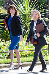 Downing Street, London, May 3rd 2016. Education Secretary Nicky Morgan (L) and Small Business Minister Anna Soubry arrive at 10 Downing Street for the weekly cabinet meeting. ©Paul Davey<br /> FOR LICENCING CONTACT: Paul Davey +44 (0) 7966 016 296 paul@pauldaveycreative.co.uk