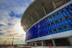 Vista geral das obras de construção da Arena do Grêmio, localizada no bairro Humaitá, zona norte de Porto Alegre. De acordo com a Construtora OAS, responsável pelo empreendimento, o novo estádio tricolor será inaugurado dia 8 de dezembro de 2012 e será utilizado como campo oficial de treino durante a Copa do Mundo de 2014. FOTO: Jefferson Bernardes/Preview.com