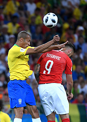 ROSTOV-ON-DON, June 17, 2018  Miranda (L) of Brazil vies with Haris Seferovic of Switzerland during a group E match between Brazil and Switzerland at the 2018 FIFA World Cup in Rostov-on-Don, Russia, June 17, 2018. (Credit Image: © Li Ga/Xinhua via ZUMA Wire)