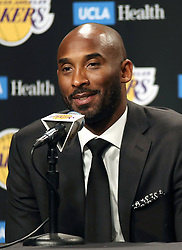 December 18, 2017 - Los Angeles, California, U.S - Kobe Bryant attends a press conference prior to the NBA game between the Los Angeles Lakers and the Golden State Warriors on Monday December 18, 2018 at Staples Center in Los Angeles California. Bryant's #8 and #24 will be retired during a half time ceremony. (Credit Image: © Prensa Internacional via ZUMA Wire)