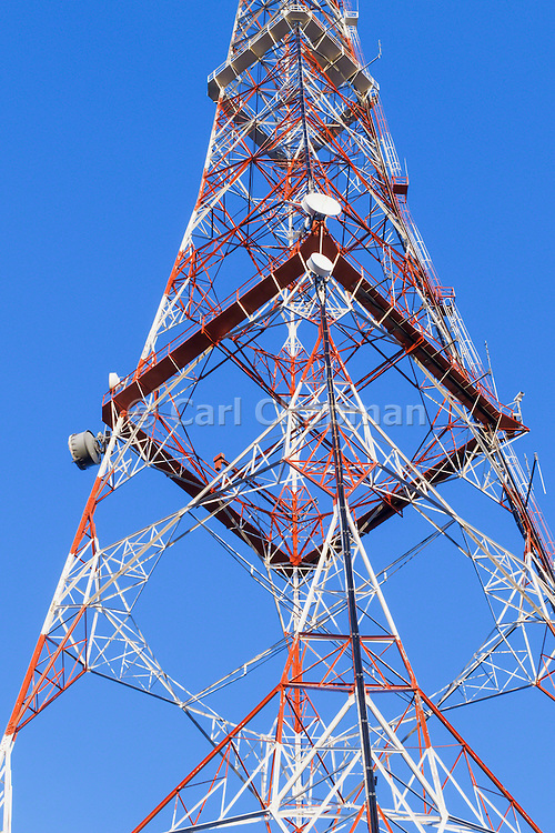 Lattice television broadcast tower and tv antennas at Mt Coot-tha, Brisbane, Queensland, Australia