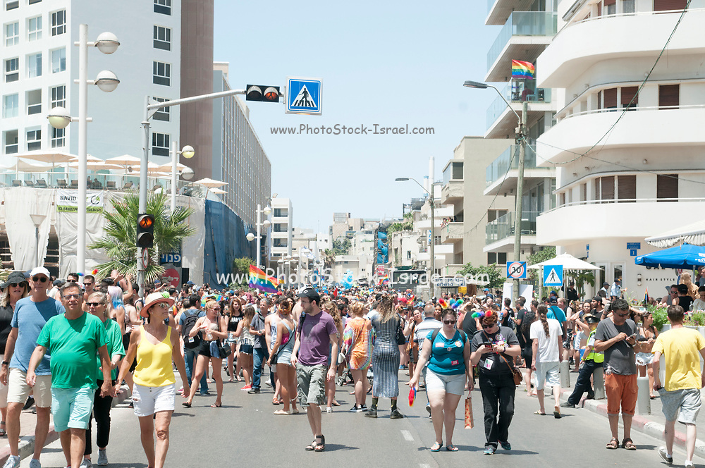 TEL AVIV, ISRAEL June 09, 2017: A crowd of people march in the Gay Pride Parade in the streets of Tel-Aviv, Israel. Its part of an annual event of the Israeli LGBT community