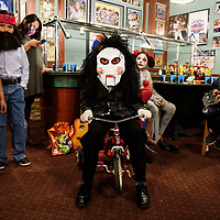 Jigsaw costume at Sammy C's Rockin Sports Pub & Grille costume contest on Halloween.