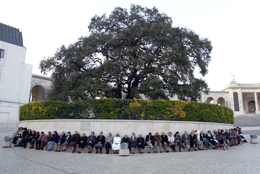 Pilgrims stand near the apparitions holm-oak at the Catholic Fatima shrine in central Portugal 05 April 2005. Thousands of pilgrims converged on Fatima to celebrate the anniversary of the first apparition of the Virgin Mary to three shepherd children on 13 May 1917.PHOTO PAULO CUNHA/4SEE