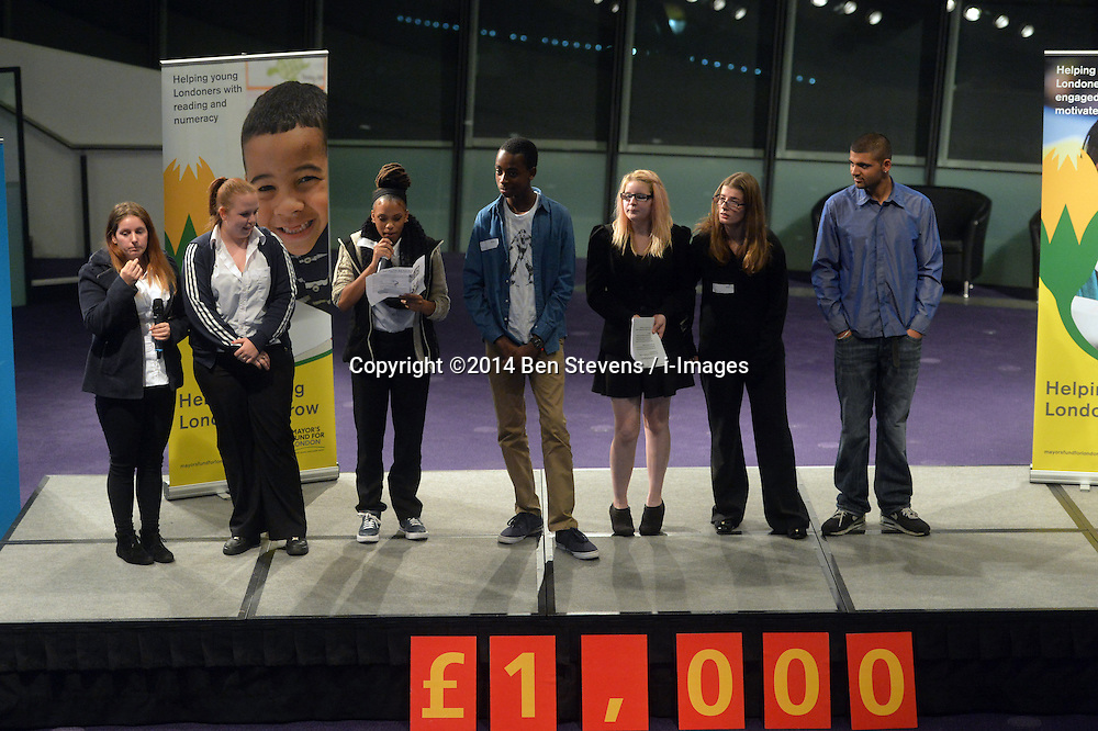 Image &copy;Licensed to i-Images Picture Agency. 09/10/2014. City Hall, London, United Kingdom. <br /> <br /> Representatives from youth clubs around London take to the stage at City Pitch 2014 and present their case to a panel of judges, to win &pound;1000 from Santander for their club, in City Hall, London, UK.<br /> <br /> Picture by Ben Stevens / i-Images