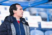 Unai Emery of Arsenal (Manager) before the Premier League match between Huddersfield Town and Arsenal at the John Smiths Stadium, Huddersfield, England on 9 February 2019.