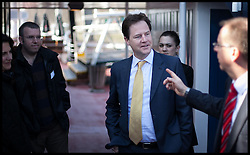 Deputy Prime Minister Nick Clegg  talks with some of the six floating voters, after having an interview with  radio LBC at Tattershall Castle, London, UK, May 1st, 2013. Photo by: Daniel Leal-Olivas / i-Images