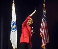 January 28, 2018  Malden High School, Malden, Massachusetts, USA: Senator Elizabeth Warren (D-MA) speaking at Town Hall Meeting at Malden High School. 1100 came to attend the town hall meeting, according to the organizer.