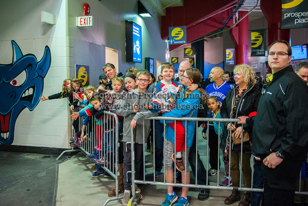 KELOWNA, CANADA - FEBRUARY 13: Fans wait outside the Kelowna Rockets dressing room during intermission against the Seattle Thunderbirds on February 13, 2017 at Prospera Place in Kelowna, British Columbia, Canada.  (Photo by Marissa Baecker/Shoot the Breeze)  *** Local Caption ***