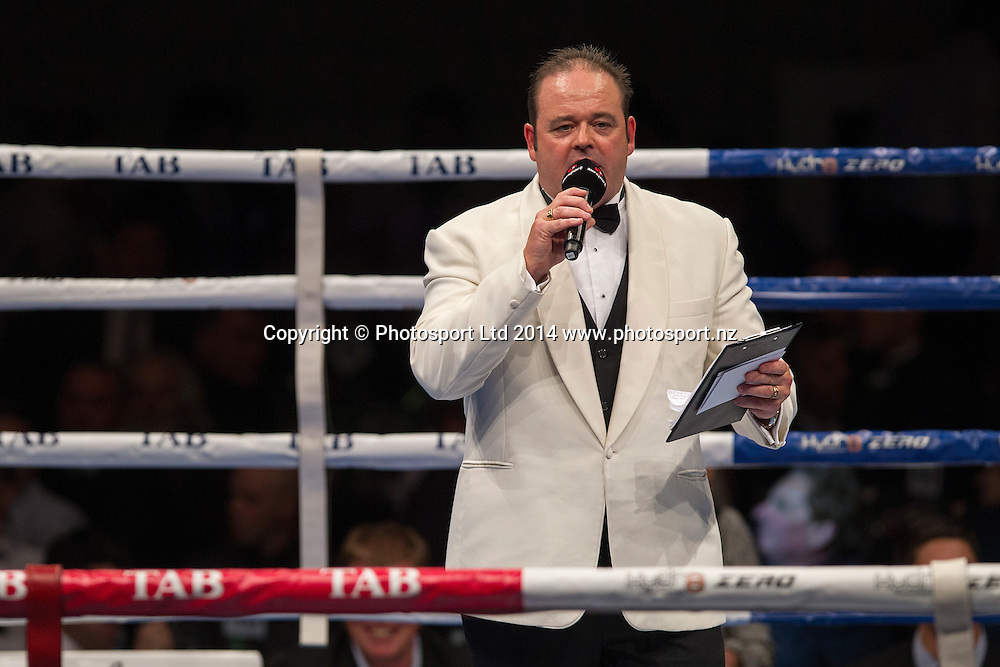 Ring announcer Lt Dan Hennessey at the Hydr8 Zero Heavyweight Explosion, Vodafone Events Centre, Auckland, New Zealand, Saturday, July 05, 2014. Photo: David Rowland/Photosport