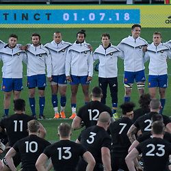 The France team faces the All Blacks haka during the Steinlager Series international rugby match between the New Zealand All Blacks and France at Forsyth Barr Stadium in Wellington, New Zealand on Saturday, 23 June 2018. Photo: Dave Lintott / lintottphoto.co.nz