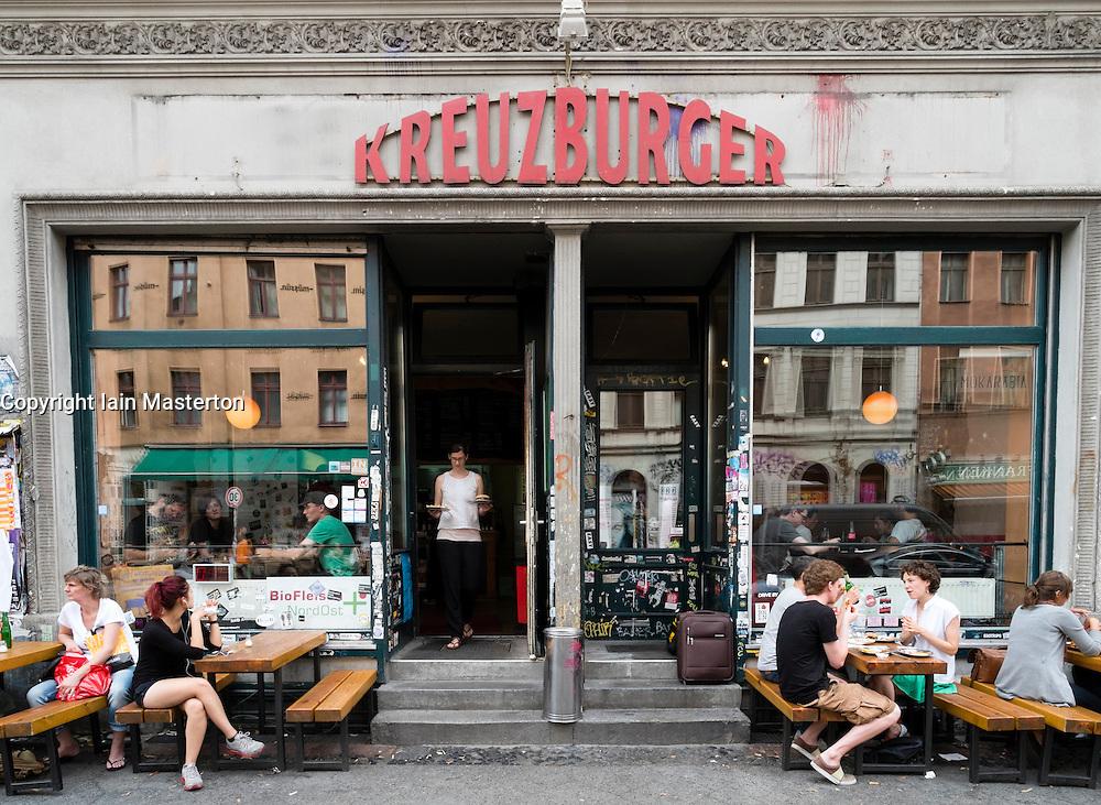 Kreuzburger restaurant in bohemian district of Kreuzberg  in Berlin Germany