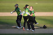 Deepti Sharma, Sophie Luff and Heather Knight of Western Storm celebrate the wicket  during the Kia Women's Cricket Super League Final match between Western Storm and Southern Vipers at the 1st Central County Ground, Hove, United Kingdom on 1 September 2019.