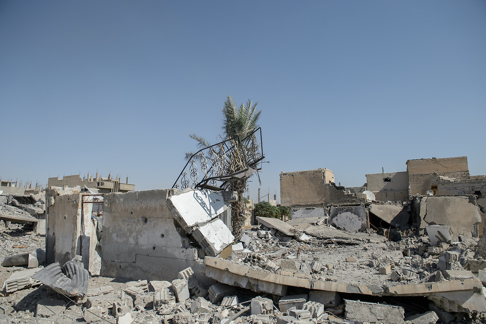 Houses in Raqqa devastated by US-led coalition air strikes and heavy fighting between Syrian Democratic Forces (SDF) and Islamic State (ISIS). According to United Nations, up to 80 per cent of the city is destroyed. Raqqa, Syria, October 12, 2017