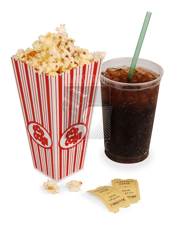 Popcorn, soda, & tickets isolated on white with clipping path.