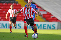 Photo: Pete Lorence.<br />Lincoln City v Rochdale United. Coca Cola League 2. 21/10/2006.<br />Jamie Forrester slams the ball into the goal.
