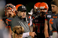 KELOWNA, BC - AUGUST 3:  Head coach Jamie Boreham stands on the sidelines against the Kamloops Broncos at the Apple Bowl on August 3, 2019 in Kelowna, Canada. (Photo by Marissa Baecker/Shoot the Breeze)