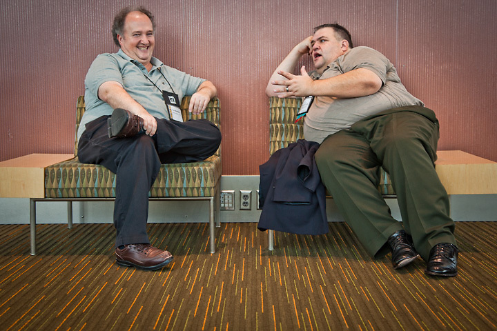 """Tourism """"heavy-hitters"""" and all around good guys, Tim Worthen and Noel DeChambeau, gather in Anchorage for the 2012 ATIA Conference at the Dena'ina Convention Center in Anchorage"""