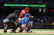 May 1 2011; Phoenix, AZ, USA; Arizona Diamondbacks batter Ryan Roberts (14) hits a home run during the second inning against the Chicago Cubs at Chase Field. Mandatory Credit: Jennifer Stewart-US PRESSWIRE..