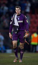 LONDON, ENGLAND - Saturday, February 9, 2013: Tranmere Rovers' goalkeeper Owain Fon Williams looks dejected as his side lose 2-1 to Leyton Orient during the Football League One match at Brisbane Road. (Pic by David Rawcliffe/Propaganda)