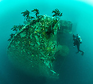 Underwater panorama on the stern end of the Rena shipwreck, at 35m. Astrolabe reef. Tauranga. New Zealand Four images taken with 16mm fisheye lens stitched together.
