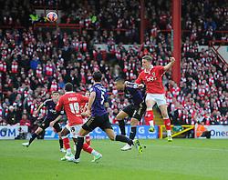 Bristol City's Matt Smith heads towards goal  - Photo mandatory by-line: Joe Meredith/JMP - Mobile: 07966 386802 - 25/01/2015 - SPORT - Football - Bristol - Ashton Gate - Bristol City v West Ham United - FA Cup Fourth Round