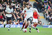 Fulham defender, Fernando Amorebieta (45) clearing ball during the Sky Bet Championship match between Fulham and Nottingham Forest at Craven Cottage, London, England on 23 April 2016. Photo by Matthew Redman.