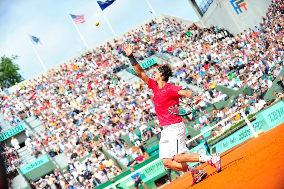 Rafael Nadal lors des Internationaux de France de Tennis, le 01 juin 2012 porte d'Auteuil.