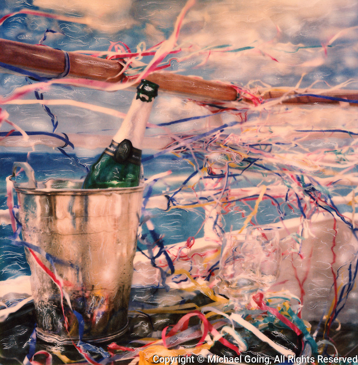 altered Polaroid SX-70 photograph of post Bon Voyage celebration with champagne bottle, champagne bucket, confetti against ships railing with ocean blue sky and white clouds
