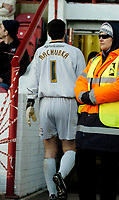 Photo: Leigh Quinnell.<br /> Brentford v Huddersfield Town. Coca Cola League 1. 21/01/2006. Huddersfield goalkeeper Paul Ruchubka walks down the tunnel after being sent off.