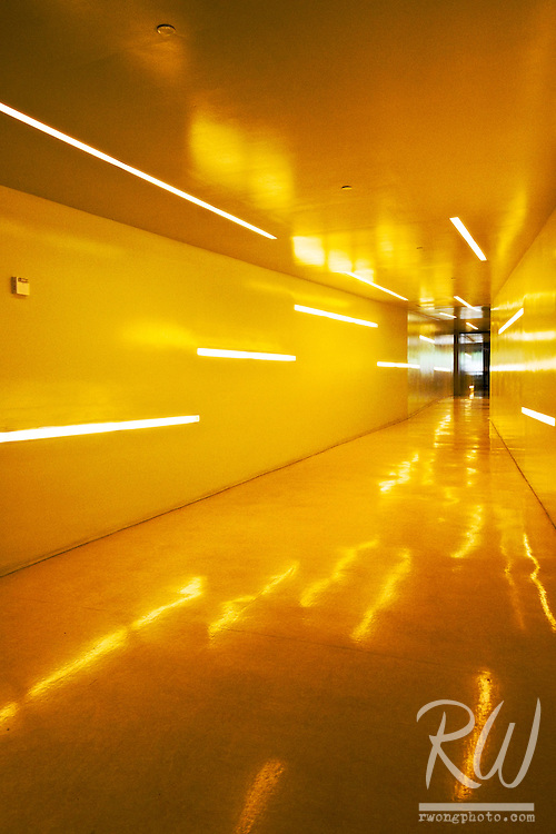Yellow Hallway at UC San Diego Price Center Student Union, La Jolla, California