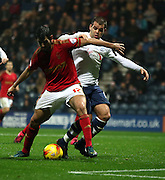 John Welsh and Nelson Oliveira during the Sky Bet Championship match between Preston North End and Nottingham Forest at Deepdale, Preston, England on 3 November 2015. Photo by Pete Burns.