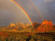 Majestic double rainbow appears over Sedona