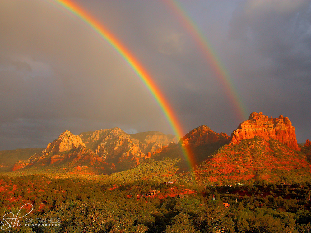 Majestic double rainbow appears over Sedona