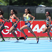 Ajee Wilson, (center), USA, winning the Women's 800m Competition during the Diamond League Adidas Grand Prix at Icahn Stadium, Randall's Island, Manhattan, New York, USA. 13th June 2015. Photo Tim Clayton