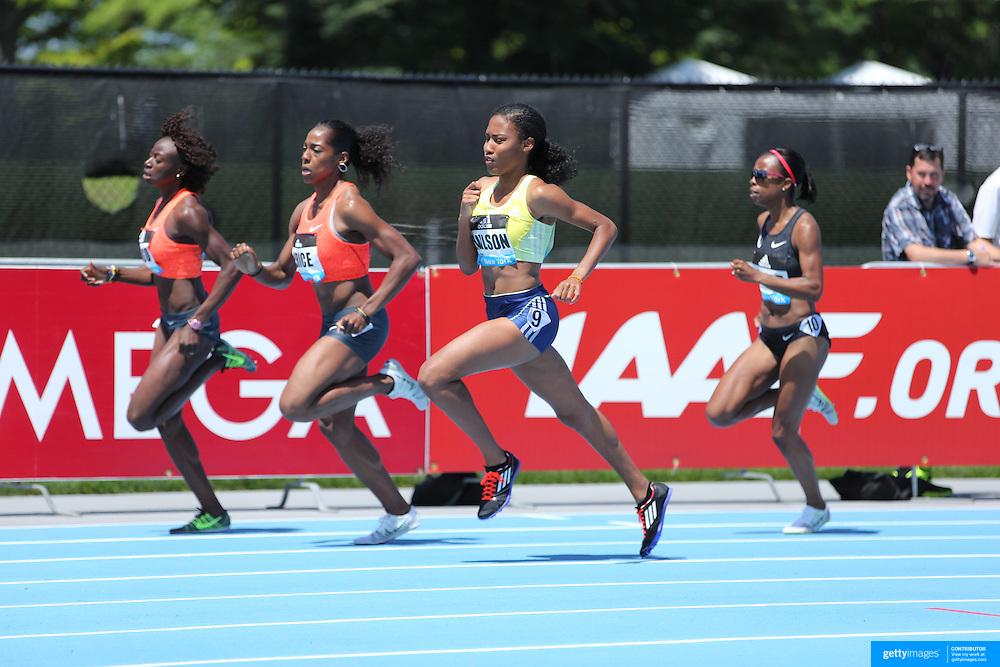 Ajee Wilson, (center), USA, winning the Women's 800m Competition during the Diamond League Adidas Grand Prix at Icahn Stadium, Randall's Island, Manhattan, New York, USA. 13th June 2015. Photo Tim Clayton