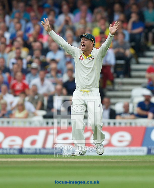 Captain Michael Clarke of Australia makes an appeal against Mark Wood of England who is given out for lbw during the 5th Investec Ashes Test match at the Kia Oval, London<br /> Picture by Alan Stanford/Focus Images Ltd +44 7915 056117<br /> 23/08/2015
