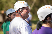 Bill Stec watches people zipline on Sept. 30, 2018 at the Challenge Course at The Ridges. Photo by Hannah Ruhoff